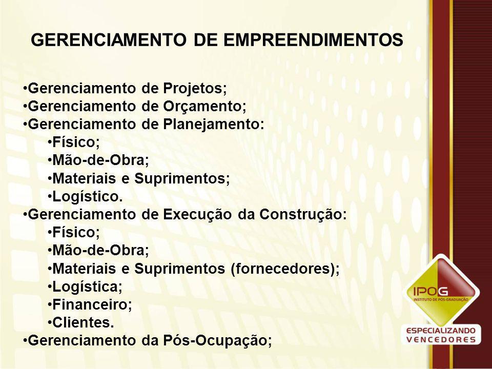 GERENCIAMENTO DE OBRAS E PROJETOS Prof. M.Sc. Carlos de Macêdo e Silva Filho