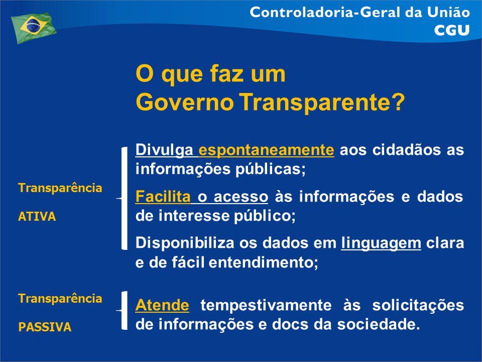 O que faz um Governo Transparente? Divulga espontaneamente aos cidadãos as informações públicas; Facilita o acesso às informações e dados de interesse
