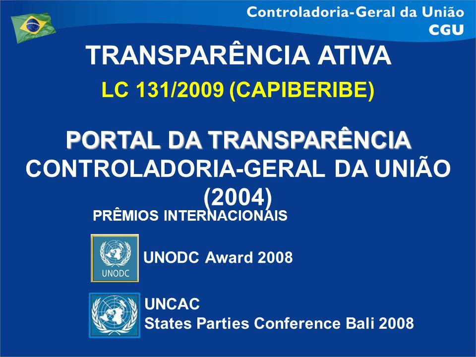 TRANSPARÊNCIA ATIVA LC 131/2009 (CAPIBERIBE) PORTAL DA TRANSPARÊNCIA CONTROLADORIA-GERAL DA UNIÃO (2004) UNODC Award 2008 UNCAC States Parties Confere
