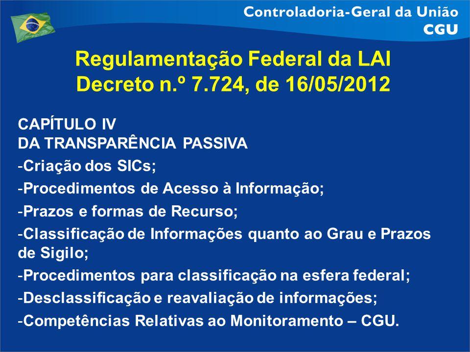 Regulamentação Federal da LAI Decreto n.º 7.724, de 16/05/2012 CAPÍTULO IV DA TRANSPARÊNCIA PASSIVA -Criação dos SICs; -Procedimentos de Acesso à Info