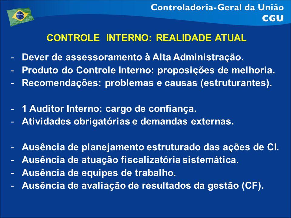 CONTROLE INTERNO: REALIDADE ATUAL -Dever de assessoramento à Alta Administração. -Produto do Controle Interno: proposições de melhoria. -Recomendações