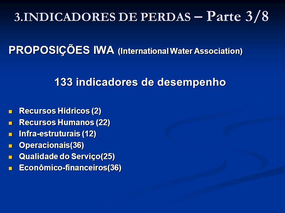 3.INDICADORES DE PERDAS – Parte 3/8 PROPOSIÇÕES IWA (International Water Association) 133 indicadores de desempenho Recursos Hídricos (2) Recursos Híd