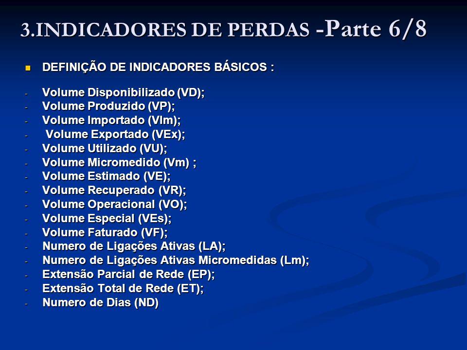 3.INDICADORES DE PERDAS -Parte 6/8 DEFINIÇÃO DE INDICADORES BÁSICOS : DEFINIÇÃO DE INDICADORES BÁSICOS : - Volume Disponibilizado (VD); - Volume Produ