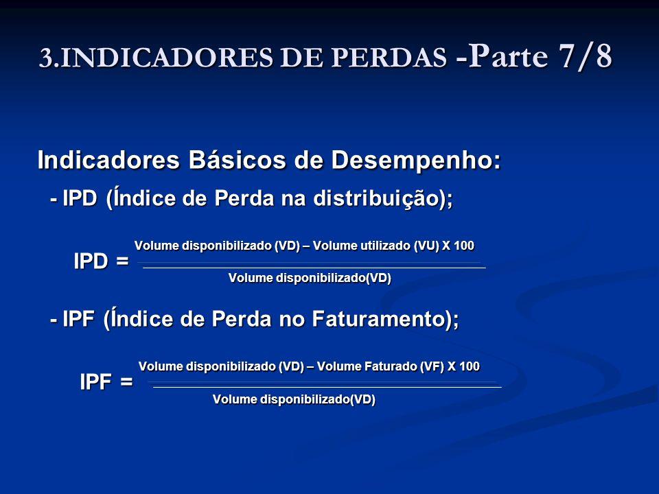 3.INDICADORES DE PERDAS -Parte 7/8 Indicadores Básicos de Desempenho: Indicadores Básicos de Desempenho: - IPD (Índice de Perda na distribuição); IPD