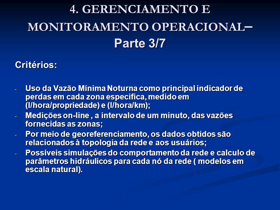 4. GERENCIAMENTO E MONITORAMENTO OPERACIONAL – Parte 3/7 Critérios: - Uso da Vazão Mínima Noturna como principal indicador de perdas em cada zona espe