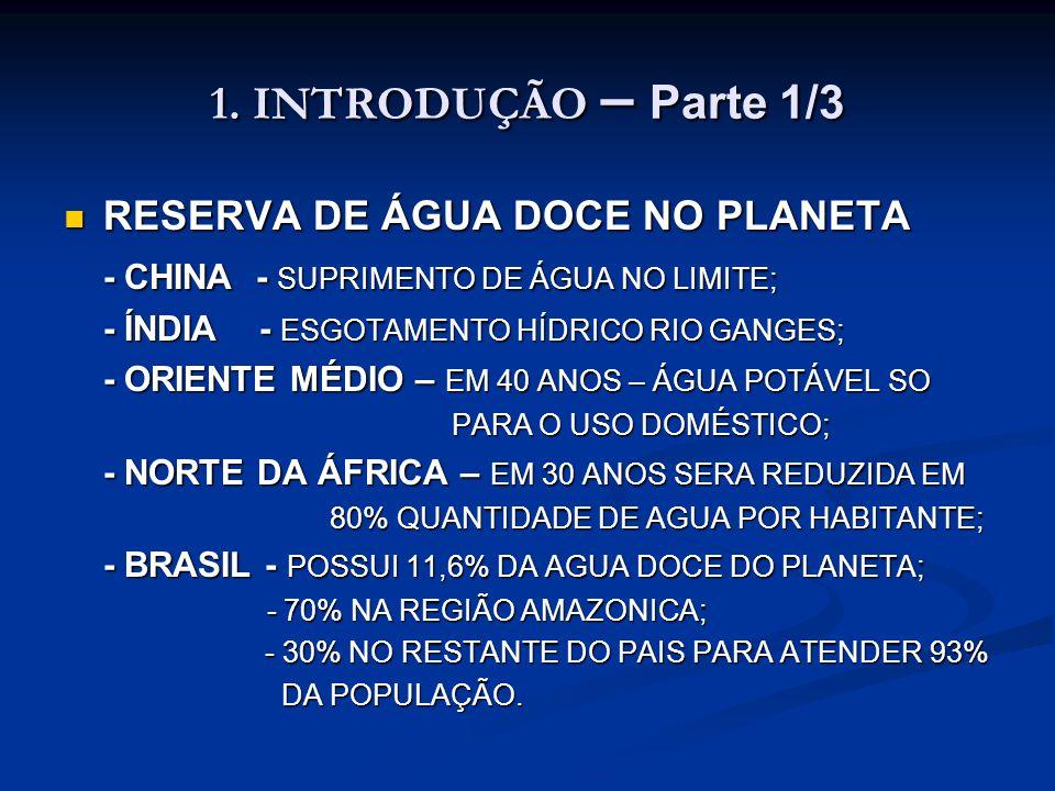 1. INTRODUÇÃO – Parte 1/3 RESERVA DE ÁGUA DOCE NO PLANETA RESERVA DE ÁGUA DOCE NO PLANETA - CHINA - SUPRIMENTO DE ÁGUA NO LIMITE; - ÍNDIA - ESGOTAMENT