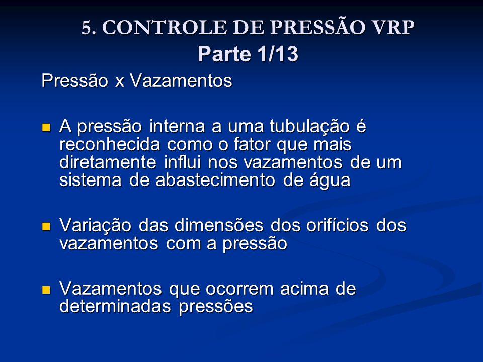 5. CONTROLE DE PRESSÃO VRP Parte 1/13 5. CONTROLE DE PRESSÃO VRP Parte 1/13 Pressão x Vazamentos A pressão interna a uma tubulação é reconhecida como