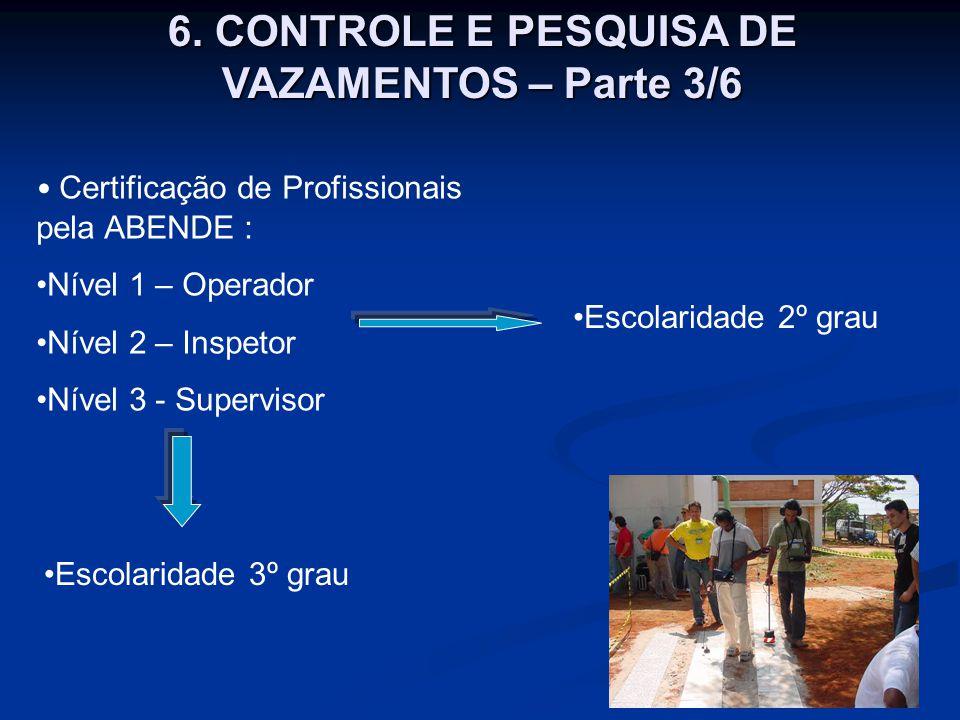 Certificação de Profissionais pela ABENDE : Nível 1 – Operador Nível 2 – Inspetor Nível 3 - Supervisor 6. CONTROLE E PESQUISA DE VAZAMENTOS – Parte 3/