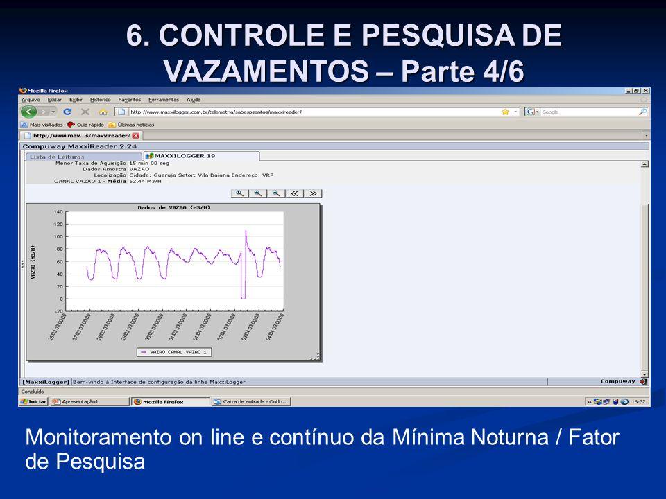 6. CONTROLE E PESQUISA DE VAZAMENTOS – Parte 4/6 Monitoramento on line e contínuo da Mínima Noturna / Fator de Pesquisa