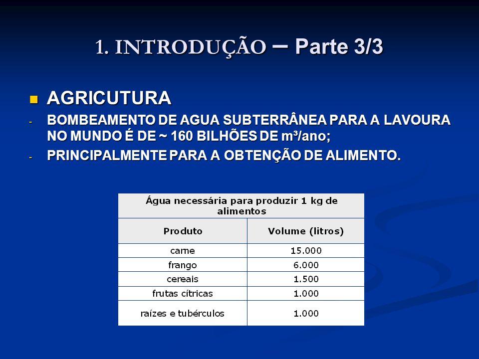 1. INTRODUÇÃO – Parte 3/3 AGRICUTURA AGRICUTURA - BOMBEAMENTO DE AGUA SUBTERRÂNEA PARA A LAVOURA NO MUNDO É DE ~ 160 BILHÕES DE m³/ano; - PRINCIPALMEN