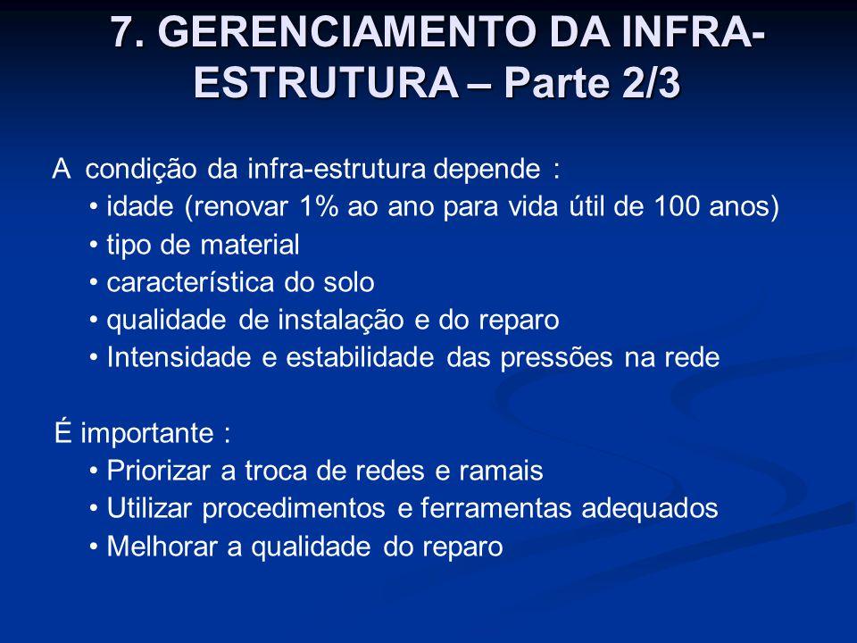 A condição da infra-estrutura depende : idade (renovar 1% ao ano para vida útil de 100 anos) tipo de material característica do solo qualidade de inst