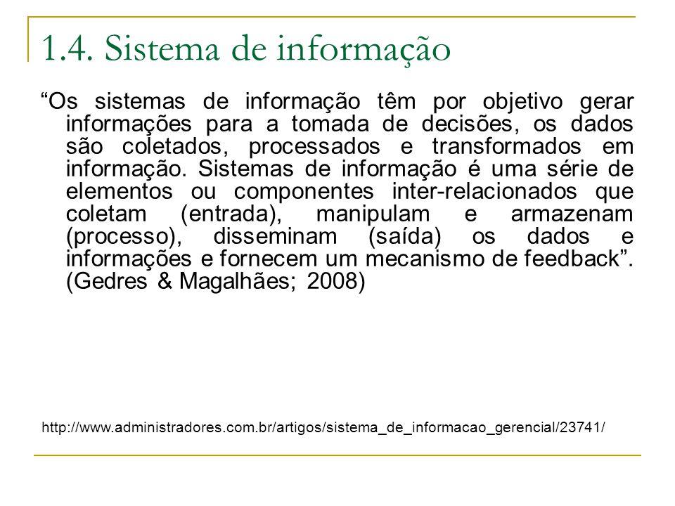 """1.4. Sistema de informação """"Os sistemas de informação têm por objetivo gerar informações para a tomada de decisões, os dados são coletados, processado"""