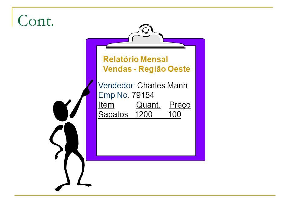 Cont. Relatório Mensal Vendas - Região Oeste Vendedor: Charles Mann Emp No.