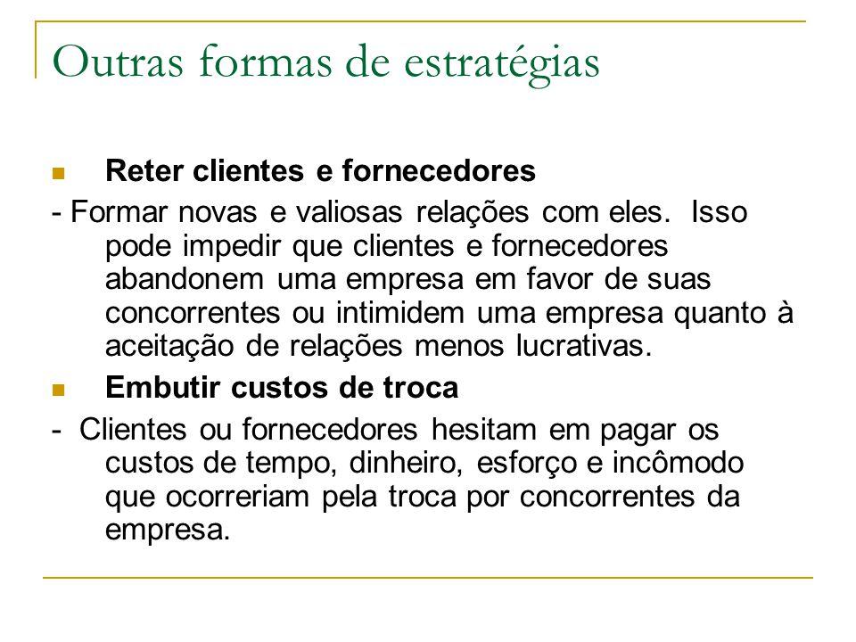 Outras formas de estratégias Reter clientes e fornecedores - Formar novas e valiosas relações com eles.