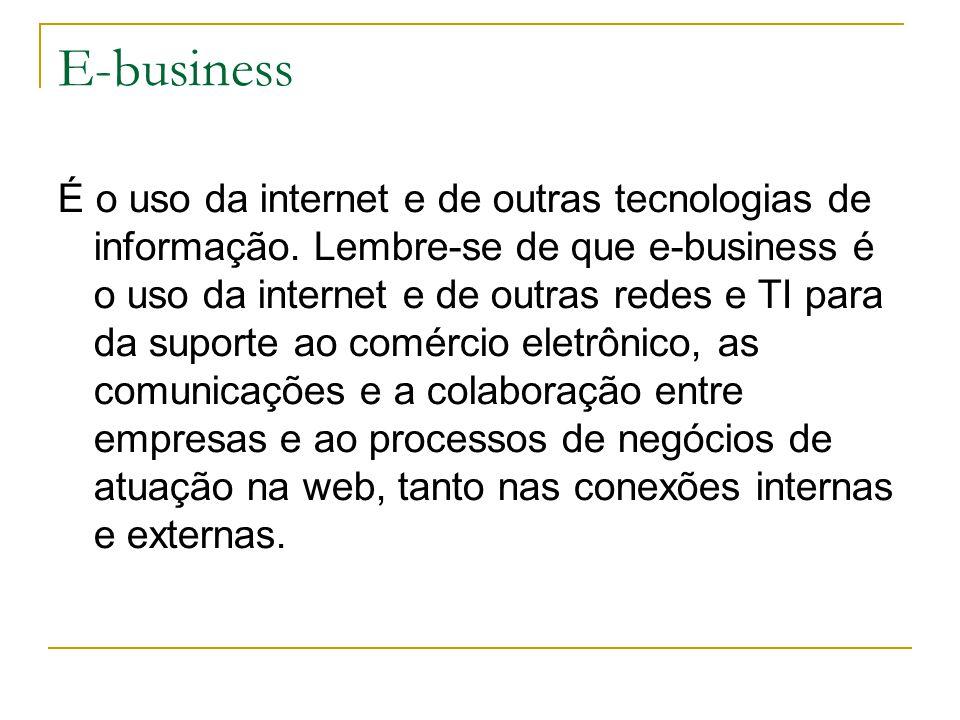 E-business É o uso da internet e de outras tecnologias de informação.