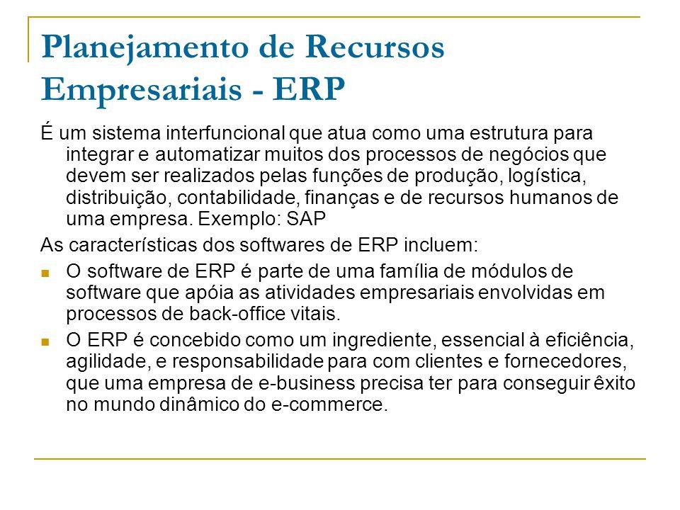 Planejamento de Recursos Empresariais - ERP É um sistema interfuncional que atua como uma estrutura para integrar e automatizar muitos dos processos de negócios que devem ser realizados pelas funções de produção, logística, distribuição, contabilidade, finanças e de recursos humanos de uma empresa.