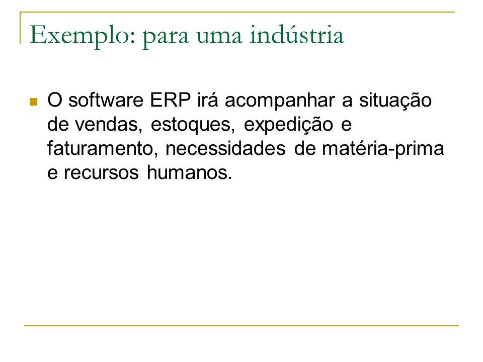 Exemplo: para uma indústria O software ERP irá acompanhar a situação de vendas, estoques, expedição e faturamento, necessidades de matéria-prima e recursos humanos.