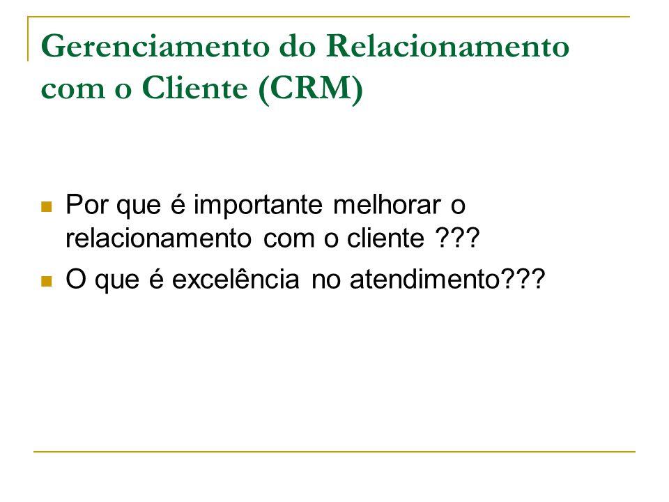 Gerenciamento do Relacionamento com o Cliente (CRM) Por que é importante melhorar o relacionamento com o cliente .
