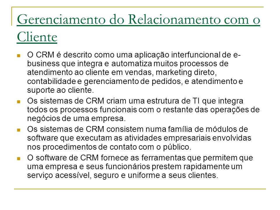 Gerenciamento do Relacionamento com o Cliente O CRM é descrito como uma aplicação interfuncional de e- business que integra e automatiza muitos processos de atendimento ao cliente em vendas, marketing direto, contabilidade e gerenciamento de pedidos, e atendimento e suporte ao cliente.