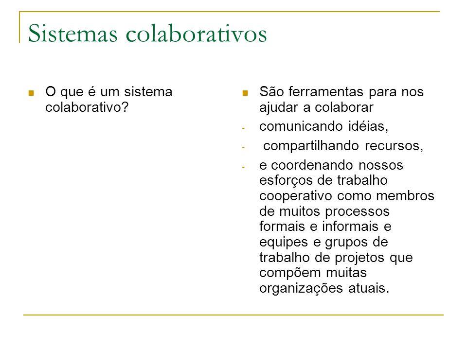 Sistemas colaborativos O que é um sistema colaborativo.