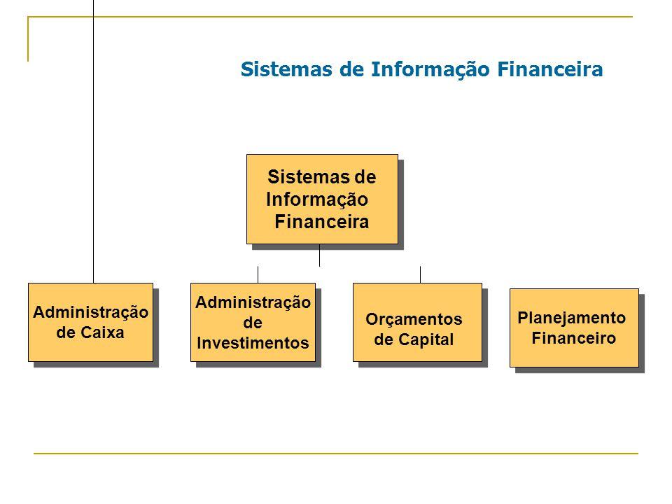 Sistemas de Informação Financeira Sistemas de Informação Financeira Sistemas de Informação Financeira Planejamento Financeiro Planejamento Financeiro Administração de Caixa Administração de Caixa Administração de Investimentos Administração de Investimentos Orçamentos de Capital