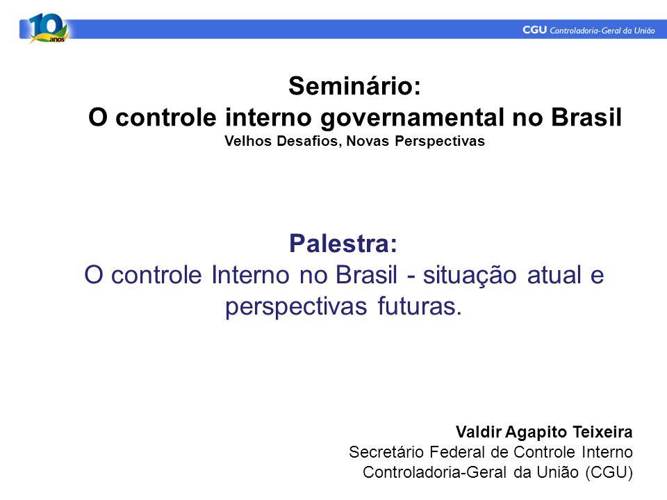 Palestra: O controle Interno no Brasil - situação atual e perspectivas futuras. Valdir Agapito Teixeira Secretário Federal de Controle Interno Control