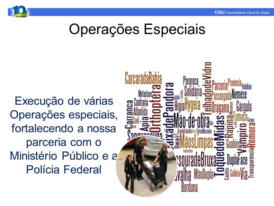 Operações Especiais Execução de várias Operações especiais, fortalecendo a nossa parceria com o Ministério Público e a Polícia Federal