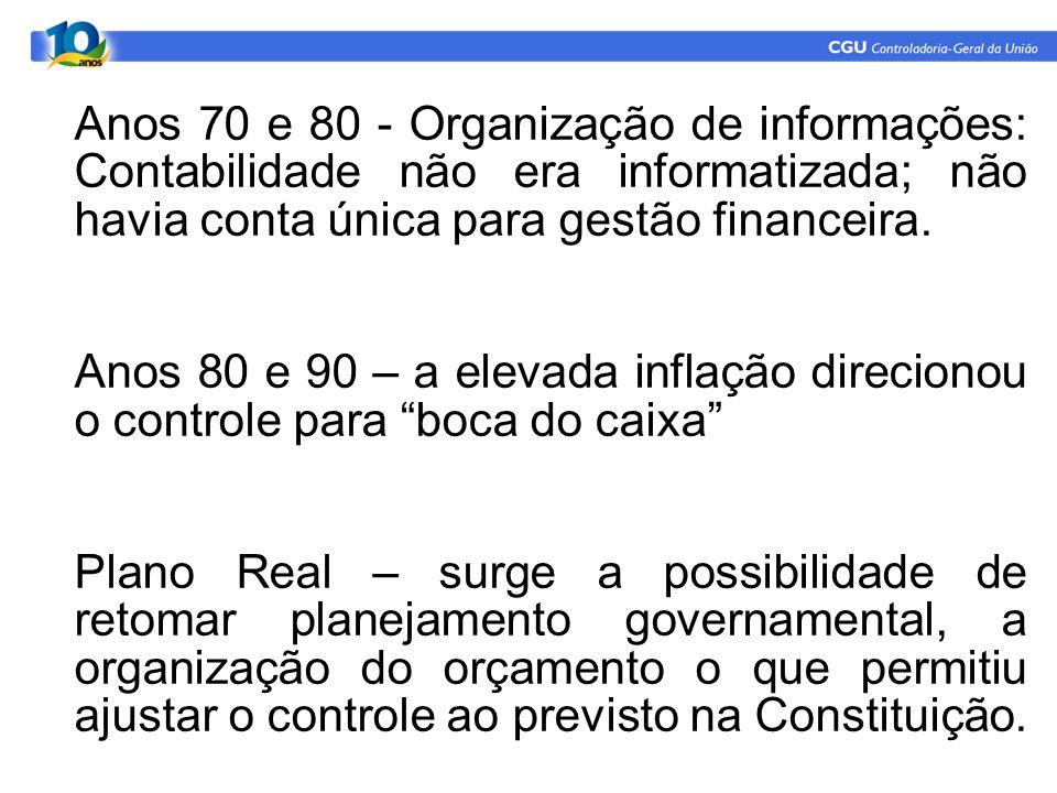 Anos 70 e 80 - Organização de informações: Contabilidade não era informatizada; não havia conta única para gestão financeira. Anos 80 e 90 – a elevada