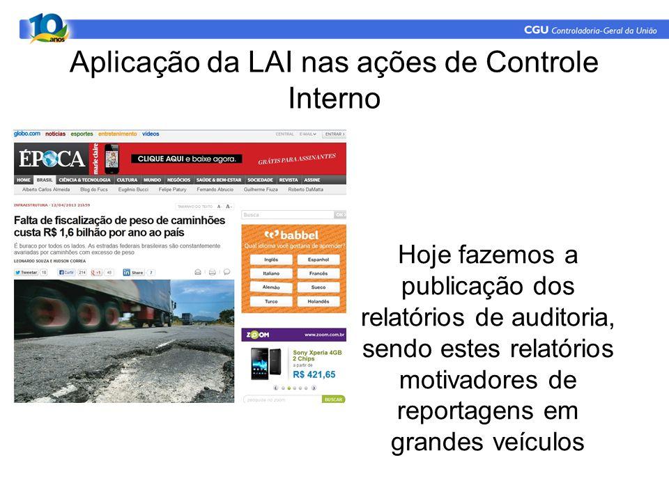 Aplicação da LAI nas ações de Controle Interno Hoje fazemos a publicação dos relatórios de auditoria, sendo estes relatórios motivadores de reportagens em grandes veículos