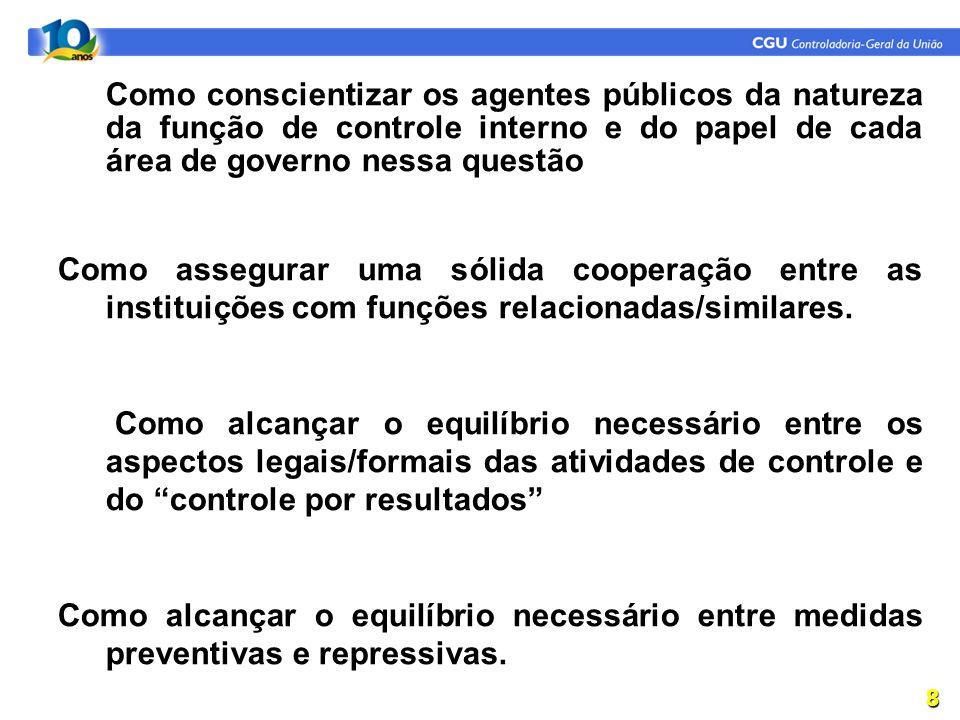 1.Como conscientizar os agentes públicos da natureza da função de controle interno e do papel de cada área de governo nessa questão Como assegurar uma sólida cooperação entre as instituições com funções relacionadas/similares.