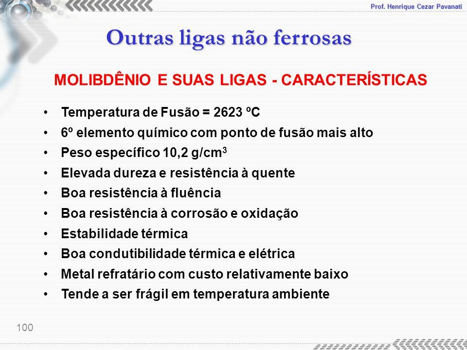 Prof. Henrique Cezar Pavanati Outras ligas não ferrosas 100 MOLIBDÊNIO E SUAS LIGAS - CARACTERÍSTICAS Temperatura de Fusão = 2623 ºC 6º elemento quími
