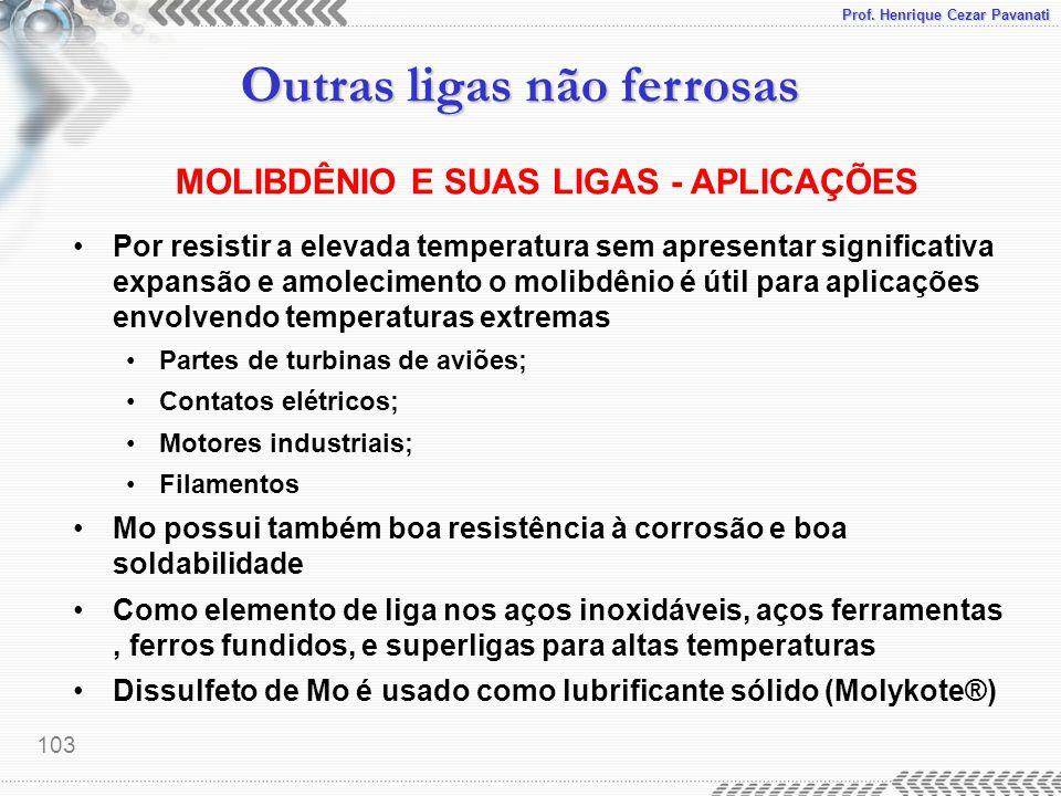 Prof. Henrique Cezar Pavanati Outras ligas não ferrosas 103 MOLIBDÊNIO E SUAS LIGAS - APLICAÇÕES Por resistir a elevada temperatura sem apresentar sig