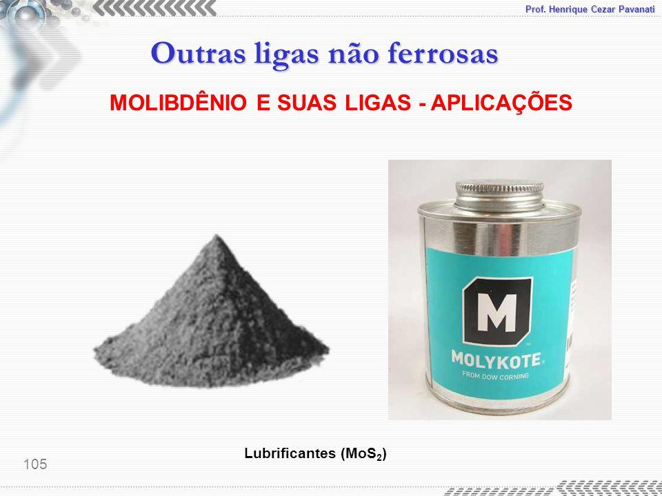 Prof. Henrique Cezar Pavanati Outras ligas não ferrosas 105 MOLIBDÊNIO E SUAS LIGAS - APLICAÇÕES Lubrificantes (MoS 2 )