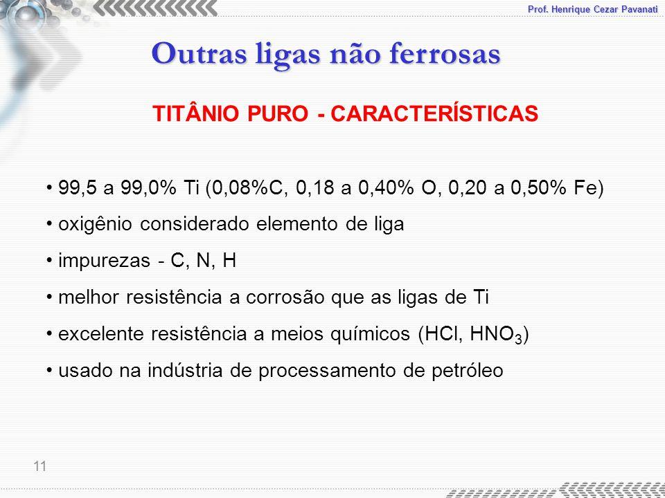 Prof. Henrique Cezar Pavanati Outras ligas não ferrosas 11 TITÂNIO PURO - CARACTERÍSTICAS 99,5 a 99,0% Ti (0,08%C, 0,18 a 0,40% O, 0,20 a 0,50% Fe) ox