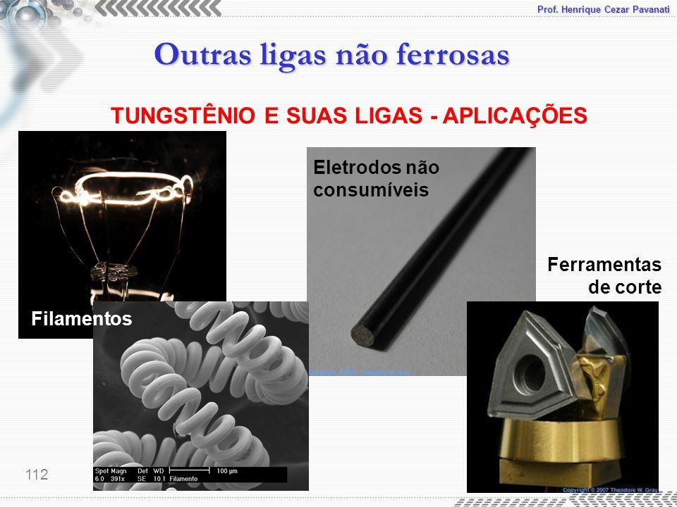 Prof. Henrique Cezar Pavanati Outras ligas não ferrosas 112 TUNGSTÊNIO E SUAS LIGAS - APLICAÇÕES Filamentos Eletrodos não consumíveis Ferramentas de c