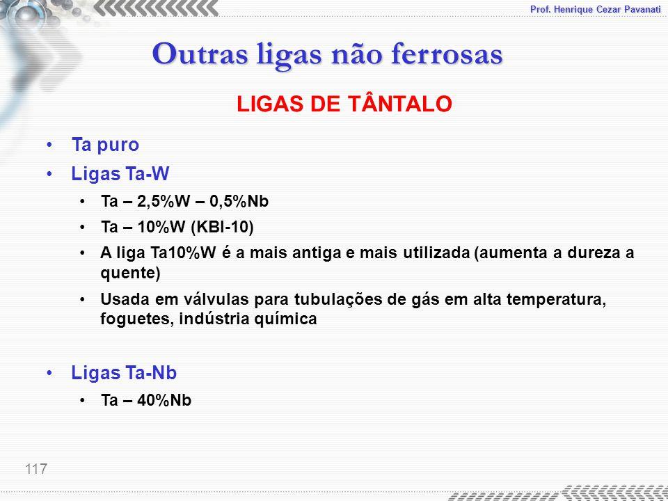 Prof. Henrique Cezar Pavanati Outras ligas não ferrosas 117 LIGAS DE TÂNTALO Ta puro Ligas Ta-W Ta – 2,5%W – 0,5%Nb Ta – 10%W (KBI-10) A liga Ta10%W é
