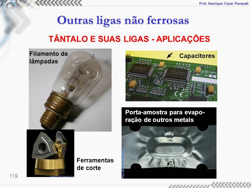 Prof. Henrique Cezar Pavanati Outras ligas não ferrosas 119 TÂNTALO E SUAS LIGAS - APLICAÇÕES Ferramentas de corte Filamento de lâmpadas Capacitores P