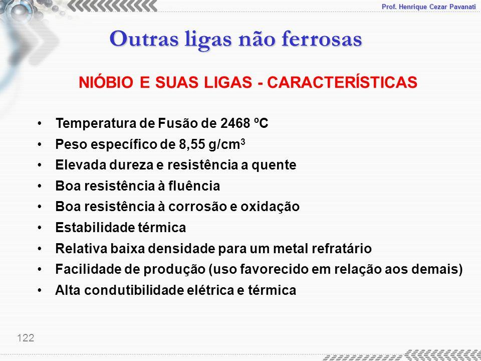 Prof. Henrique Cezar Pavanati Outras ligas não ferrosas 122 NIÓBIO E SUAS LIGAS - CARACTERÍSTICAS Temperatura de Fusão de 2468 ºC Peso específico de 8