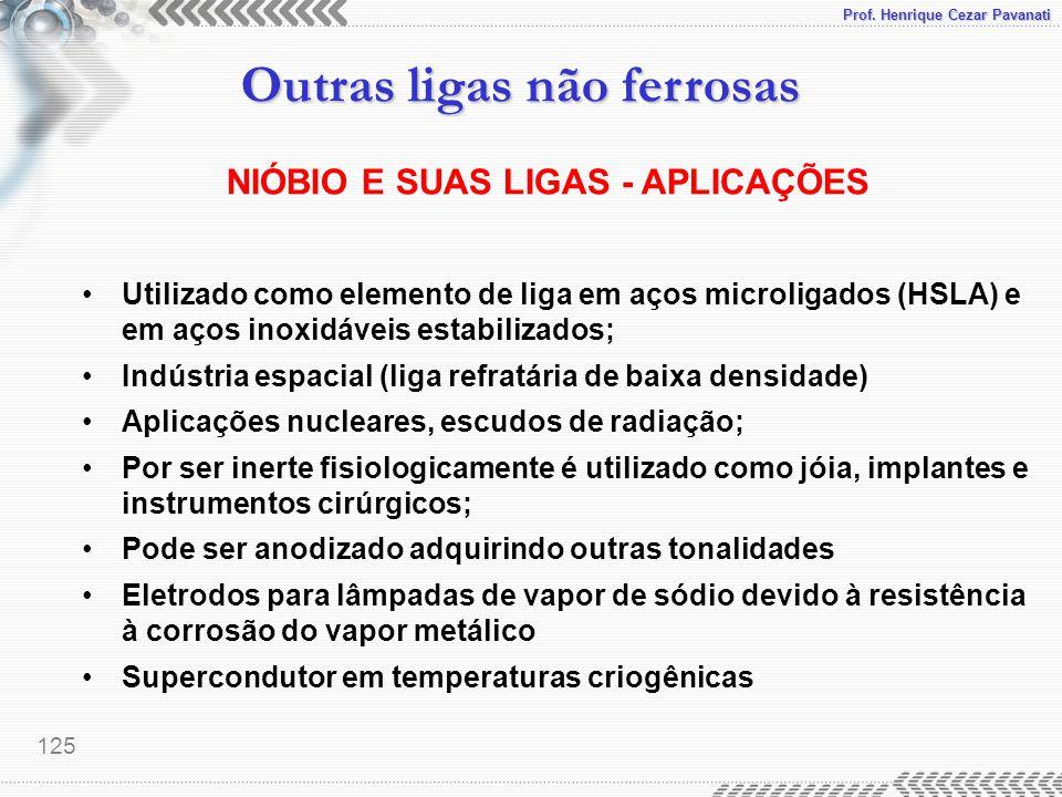 Prof. Henrique Cezar Pavanati Outras ligas não ferrosas 125 NIÓBIO E SUAS LIGAS - APLICAÇÕES Utilizado como elemento de liga em aços microligados (HSL