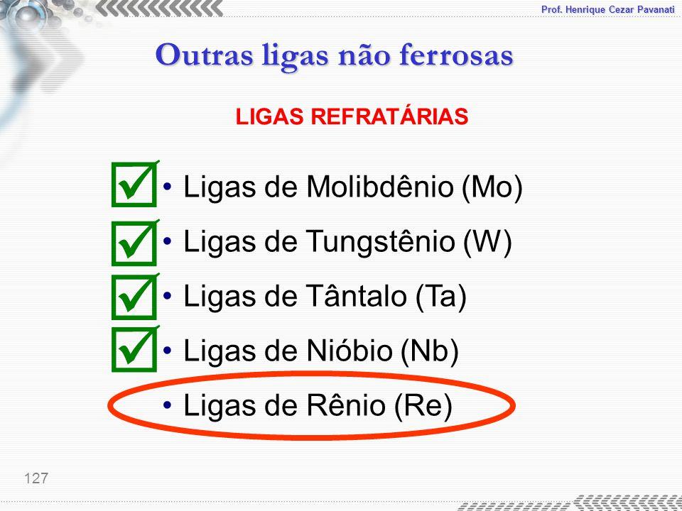 Prof. Henrique Cezar Pavanati Outras ligas não ferrosas 127 LIGAS REFRATÁRIAS Ligas de Molibdênio (Mo) Ligas de Tungstênio (W) Ligas de Tântalo (Ta) L