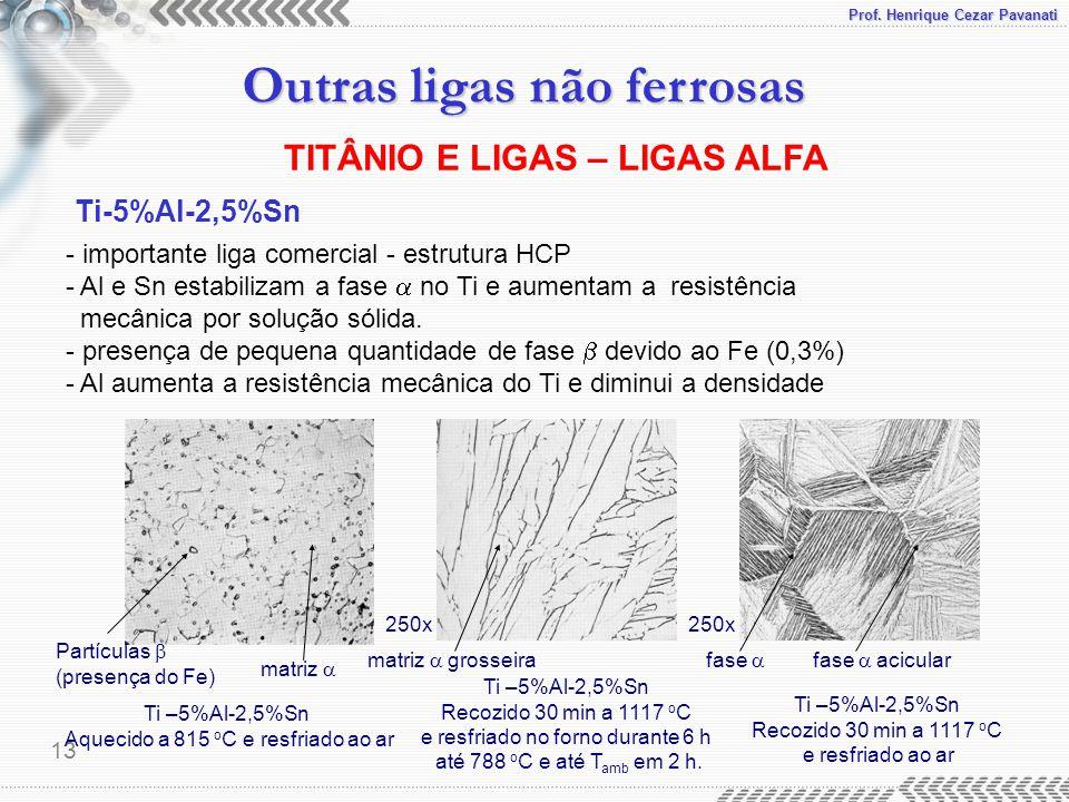 Prof. Henrique Cezar Pavanati Outras ligas não ferrosas 13 TITÂNIO E LIGAS – LIGAS ALFA Ti-5%Al-2,5%Sn - importante liga comercial - estrutura HCP - A