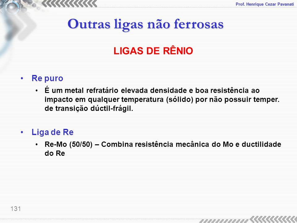 Prof. Henrique Cezar Pavanati Outras ligas não ferrosas 131 LIGAS DE RÊNIO Re puro É um metal refratário elevada densidade e boa resistência ao impact