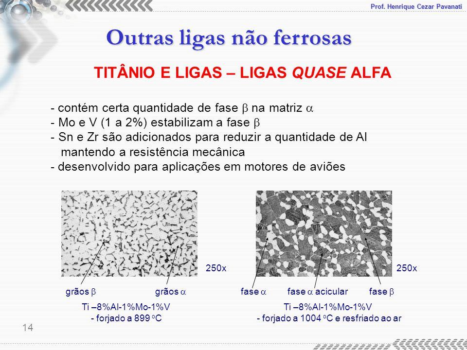 Prof. Henrique Cezar Pavanati Outras ligas não ferrosas 14 - contém certa quantidade de fase  na matriz  - Mo e V (1 a 2%) estabilizam a fase  - Sn
