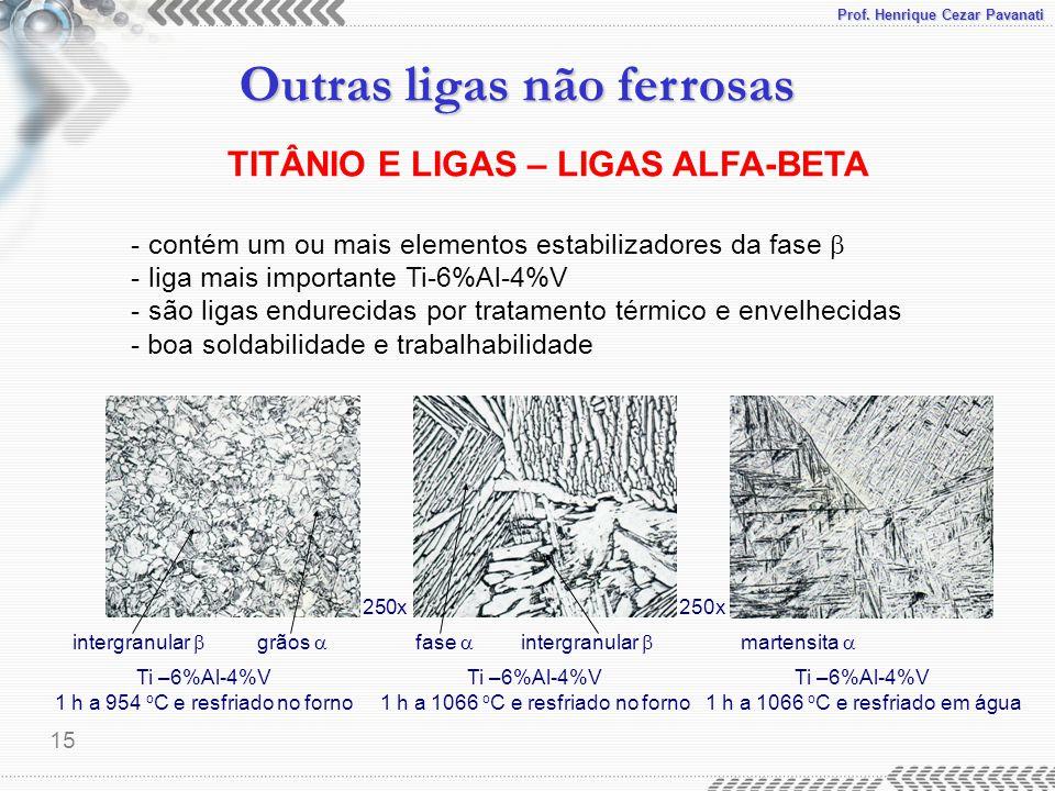Prof. Henrique Cezar Pavanati Outras ligas não ferrosas 15 - contém um ou mais elementos estabilizadores da fase  - liga mais importante Ti-6%Al-4%V