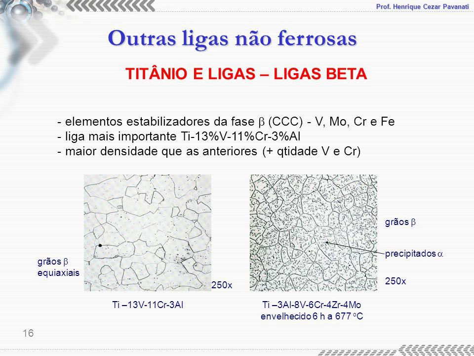 Prof. Henrique Cezar Pavanati Outras ligas não ferrosas 16 TITÂNIO E LIGAS – LIGAS BETA - elementos estabilizadores da fase  (CCC) - V, Mo, Cr e Fe