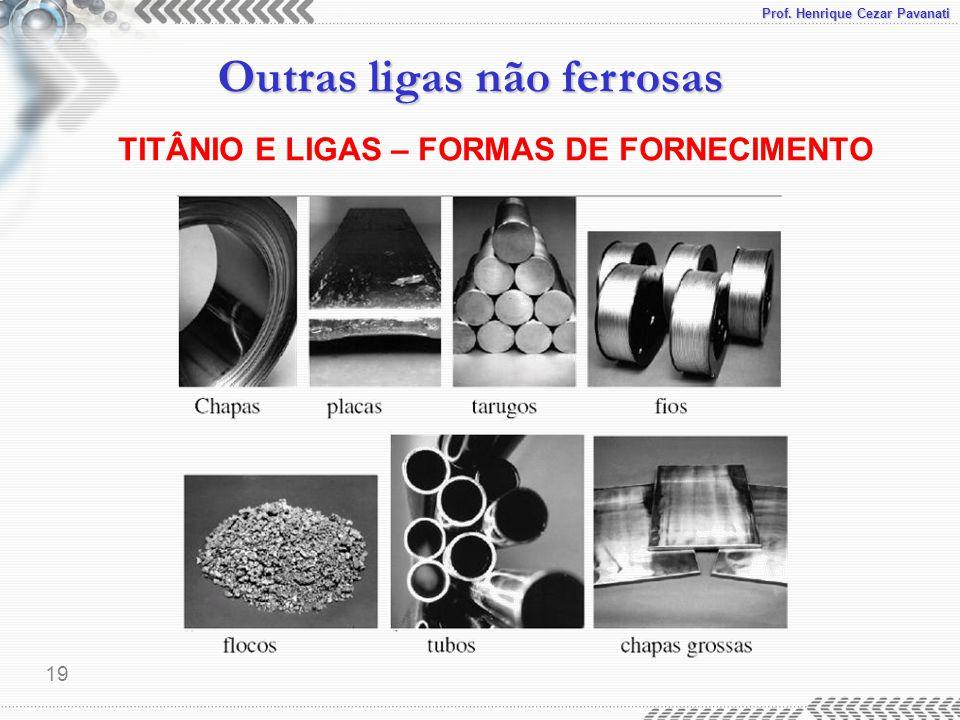 Prof. Henrique Cezar Pavanati Outras ligas não ferrosas 19 TITÂNIO E LIGAS – FORMAS DE FORNECIMENTO