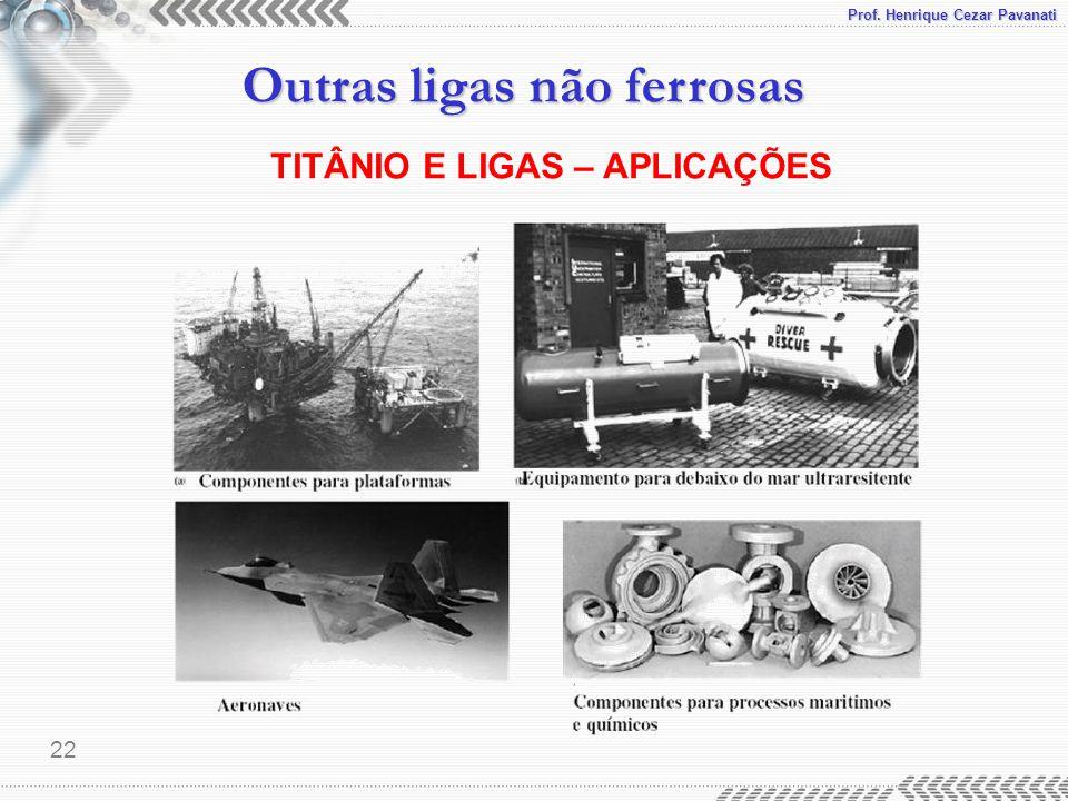 Prof. Henrique Cezar Pavanati Outras ligas não ferrosas 22 TITÂNIO E LIGAS – APLICAÇÕES
