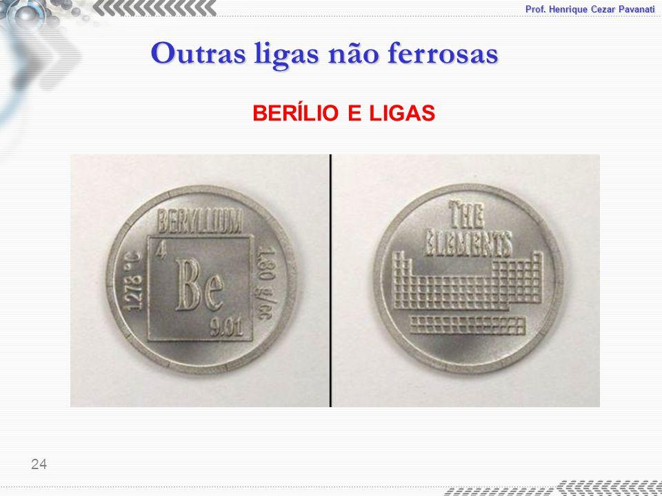 Prof. Henrique Cezar Pavanati Outras ligas não ferrosas 24 BERÍLIO E LIGAS