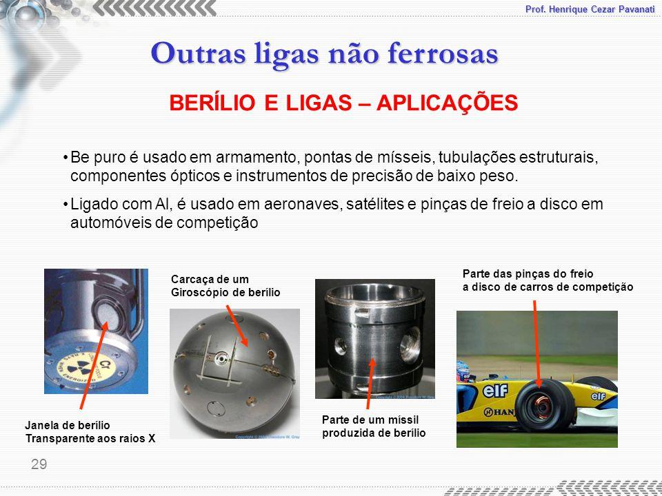 Prof. Henrique Cezar Pavanati Outras ligas não ferrosas 29 BERÍLIO E LIGAS – APLICAÇÕES Be puro é usado em armamento, pontas de mísseis, tubulações es