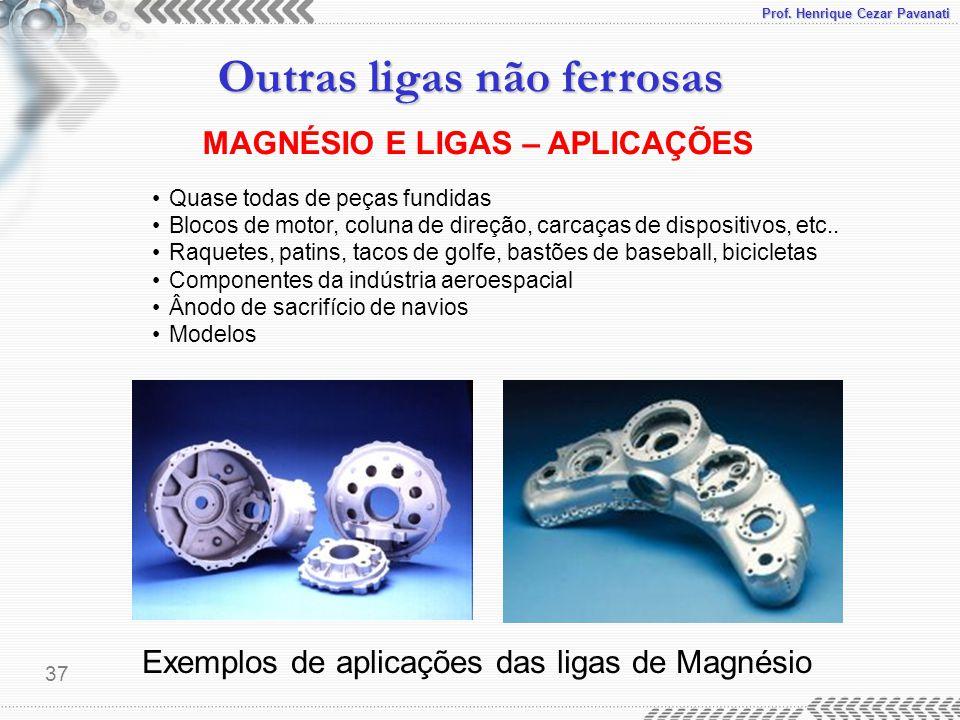Prof. Henrique Cezar Pavanati Outras ligas não ferrosas 37 Exemplos de aplicações das ligas de Magnésio MAGNÉSIO E LIGAS – APLICAÇÕES Quase todas de p